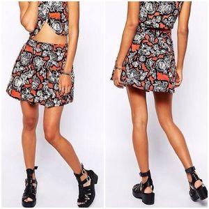 MOTEL Bold Rose Print Full Pleat Mini Skirt